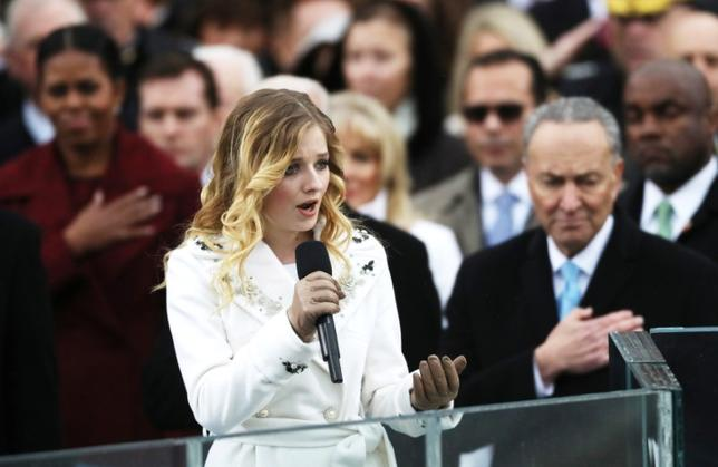 FILE PHOTO --  Jackie Evancho sings the U.S. National Anthem during inauguration ceremonies swearing in Donald Trump as the 45th president of the United States on the West front of the U.S. Capitol in Washington, U.S., January 20, 2017. REUTERS/Carlos Barria/File Photo