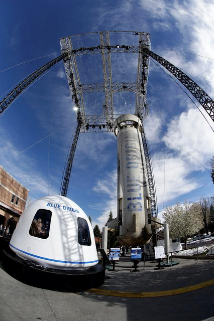 A general view of the Blue Origin Crew Capsule mockup and New Shepard rocket booster at the 33rd Space Symposium in Colorado Springs, Colorado, United States April 5, 2017.  REUTERS/Isaiah J. Downing