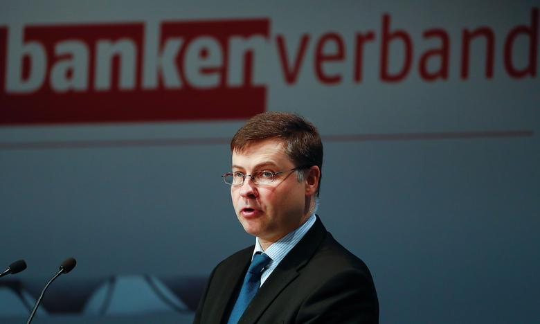 European Commission Vice-President Valdis Dombrovskis attends the German Banking Congress in Berlin, Germany, April 6, 2017. REUTERS/Fabrizio Bensch