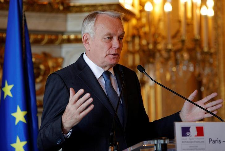 French Foreign Minister Jean-Marc Ayrault delivers his speech during a press conference in Paris, France, March 29, 2017.  REUTERS/Christophe Ena/Pool