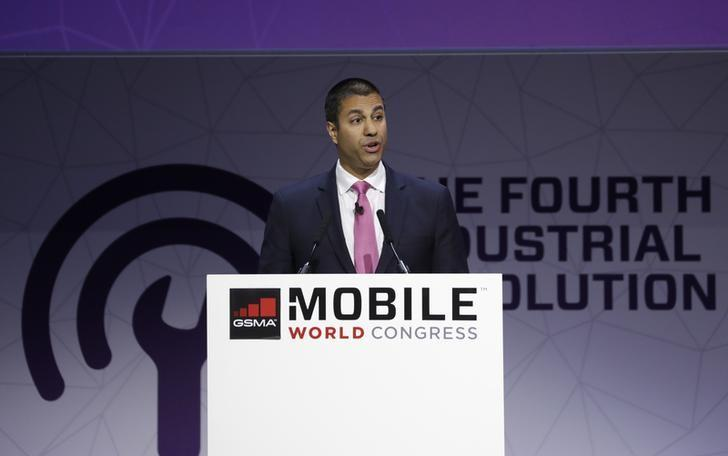 Ajit Pai, Chairman of U.S Federal Communications Commission, delivers his keynote speech at Mobile World Congress in Barcelona, Spain, February 28, 2017. REUTERS/Eric Gaillard/Files