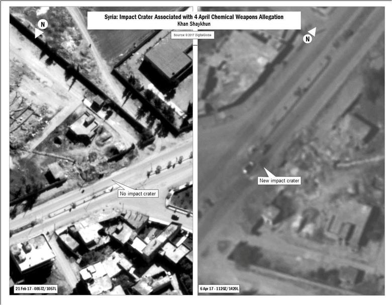 A combination image released by the U.S. Department of Defense which they say shows the impact crater associated with April 4, 2017 Chemical Weapons Allegation released after U.S. cruise missile strike against Syria on April 7, 2017.    Courtesy U.S. DoD/Handout via REUTERS