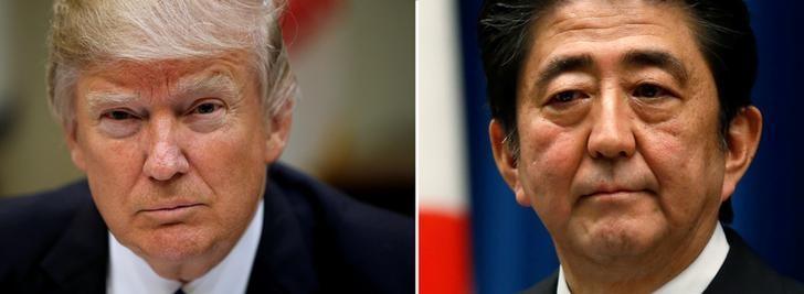 FILE PHOTOS: A combination of file photos show U.S. President Donald Trump (L) in Washington March 1, 2017 and Japan's Prime Minister Shinzo Abe in Tokyo November 18, 2014 . REUTERS/Kevin Lamarque/Toru Hanai/File Photos