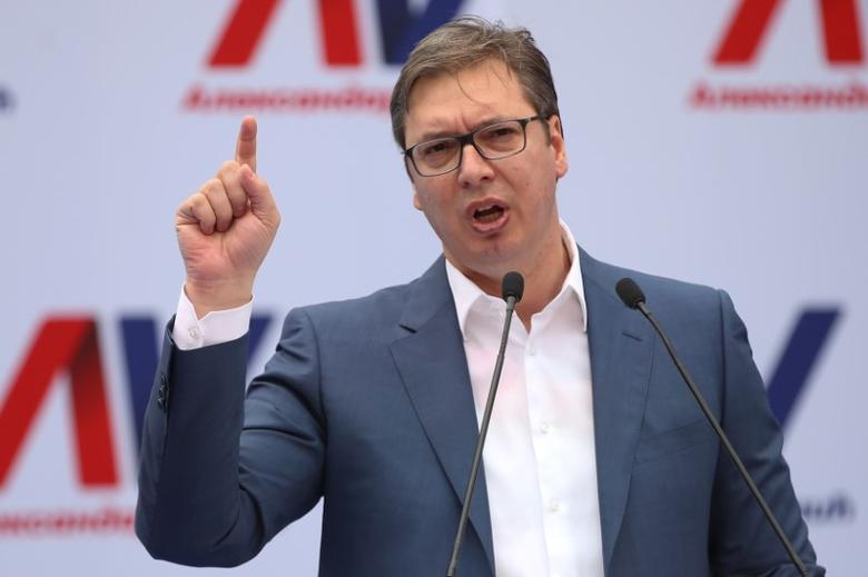 Serbian Prime Minister and President-elect Aleksandar Vucic speaks during his rally in Novi Sad, Serbia, March 18, 2017. Picture taken March 18, 2017. REUTERS/Marko Djurica