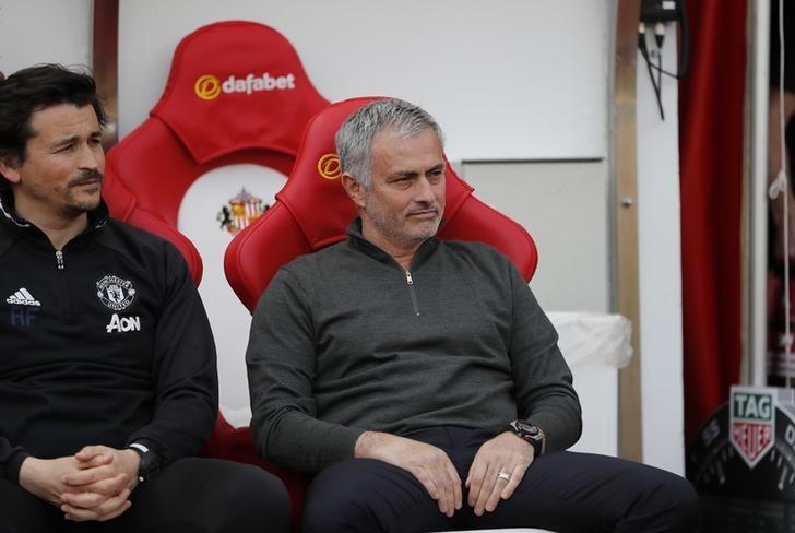 Britain Football Soccer - Sunderland v Manchester United - Premier League - Stadium of Light - 9/4/17 Manchester United manager Jose Mourinho and assistant manager Rui Faria before the match  Reuters / Russell Cheyne Livepic
