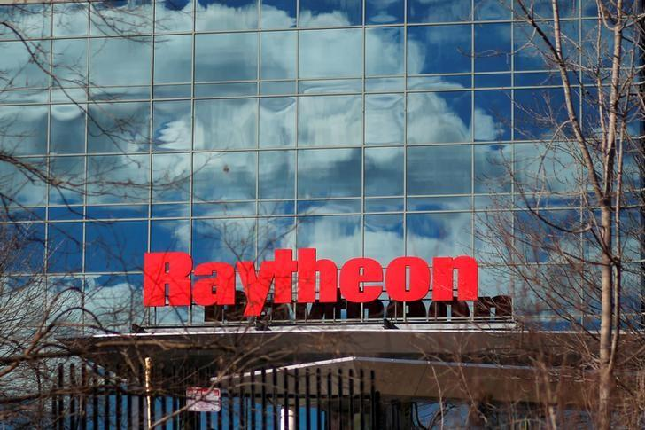 A sign marks the Raytheon offices in Woburn, Massachusetts, U.S. January 25, 2017.   REUTERS/Brian Snyder/Files