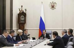 Russia's Prime Minister Dmitry Medvedev chairs a meeting with his deputies at the Russian White House, headquarters of the federal government, in Moscow, Russia, March 28, 2016. REUTERS/Dmitry Astakhov/Sputnik/Pool ATTENTION EDITORS - THIS IMAGE HAS BEEN SUPPLIED BY A THIRD PARTY. IT IS DISTRIBUTED, EXACTLY AS RECEIVED BY REUTERS, AS A SERVICE TO CLIENTS.