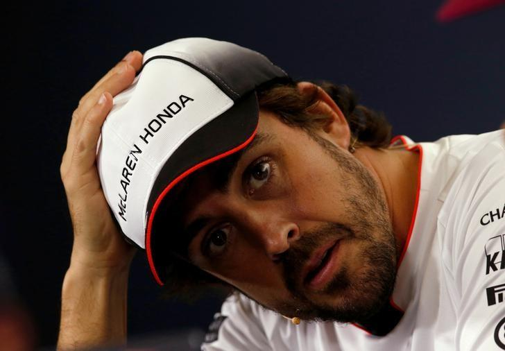 Formula One - Spanish Grand Prix - Barcelona-Catalunya racetrack, Montmelo, Spain - 12/5/16. McLaren's F1 driver Fernando Alonso gestures during a news conference ahead of the Spanish Grand Prix.    REUTERS/Albert Gea/File Photo
