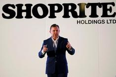 Shoprite Holdings Chief Executive Pieter Engelbrecht reports on his company's results in Cape Town, South Africa, February 21, 2017.   REUTERS/Mike Hutchings
