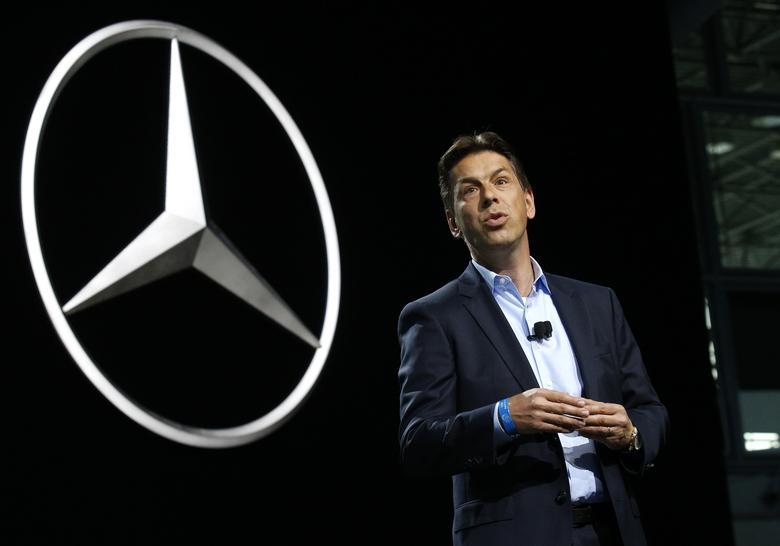 Dietmar Exler, President and CEO of Mercedes Benz USA, speaks at the 2017 New York International Auto Show in New York City, U.S. April 12, 2017. REUTERS/Brendan Mcdermid