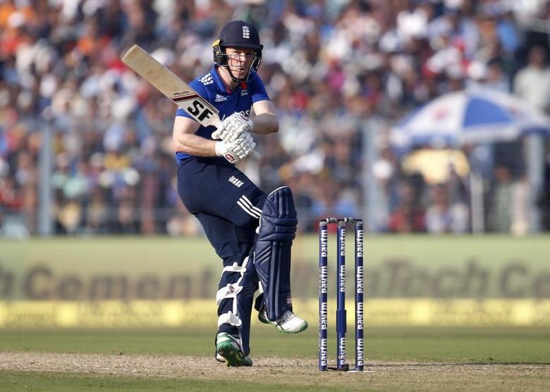 Cricket - India v England - Third One Day International - Eden Gardens, Kolkata, India - 22/01/2017. England's captain Eoin Morgan plays a shot. REUTERS/Rupak De Chowdhuri