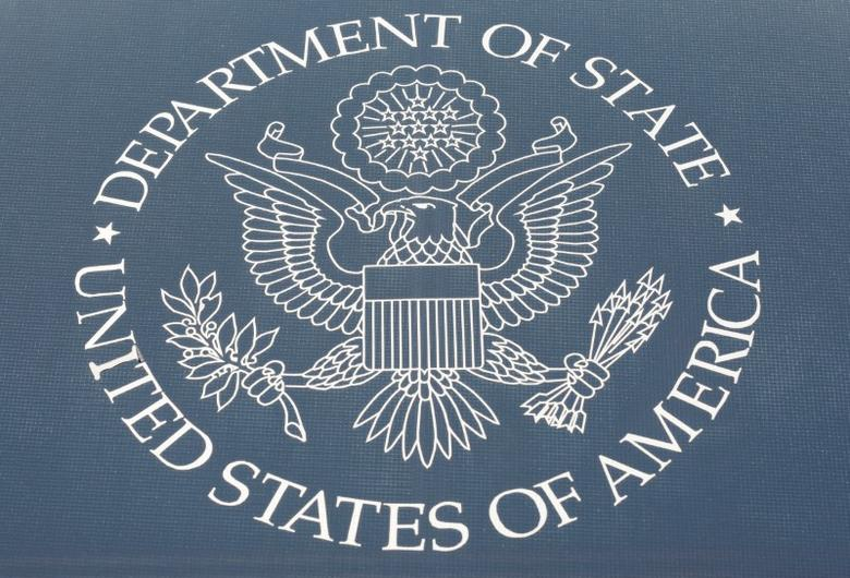The seal of the United States Department of State is shown in Washington, U.S., January 26, 2017.      REUTERS/Joshua Roberts