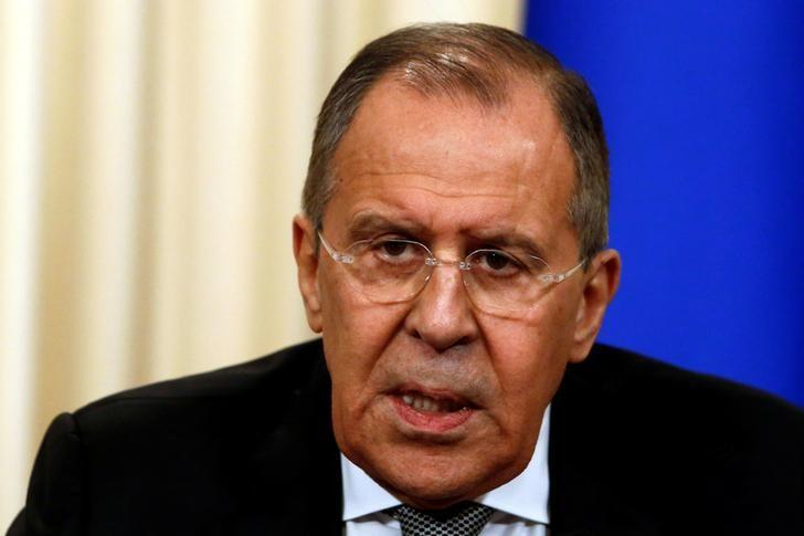 Russian Foreign Minister Sergei Lavrov speaks during a news conference with U.S. Secretary of State Rex Tillerson following their talks in Moscow, Russia, April 12, 2017. REUTERS/Sergei Karpukhin
