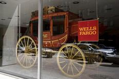 An 1860's era stagecoach is displayed at the Wells Fargo & Co. bank in downtown Denver April 13, 2016.  REUTERS/Rick Wilking