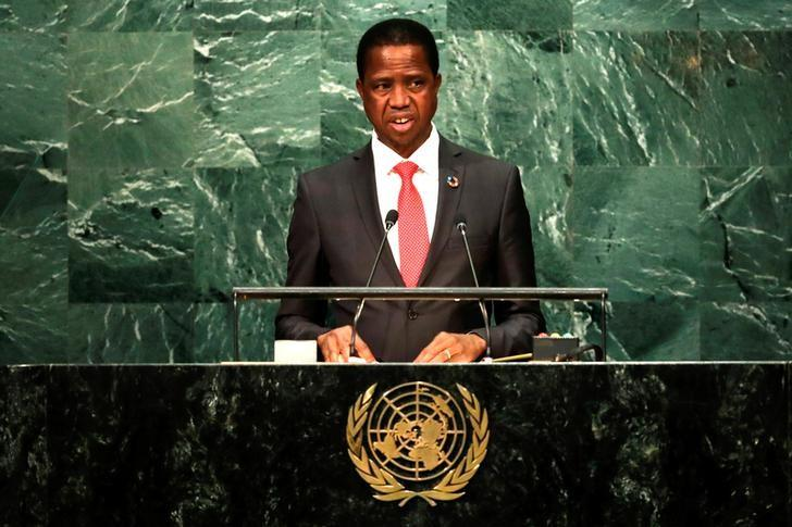 Zambia's President Edgar Chagwa Lungu addresses the United Nations General Assembly in the Manhattan borough of New York, U.S. September 20, 2016.   REUTERS/Eduardo Munoz/Files
