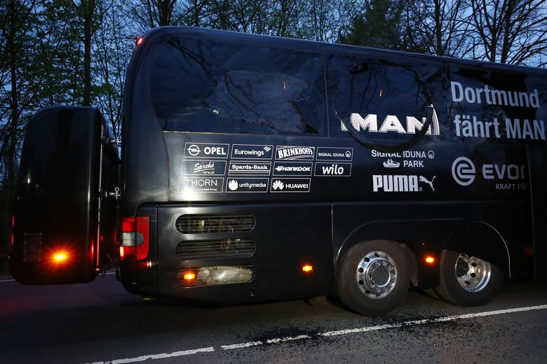 The Borussia Dortmund team bus is seen after an explosion near their hotel before their Champions League quarter-final first leg game against AS Monaco in Dortmund, Germany. REUTERS/Kai Pfaffenbach/Livepic