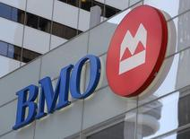 The logo of the Bank of Montreal (BMO) is seen on their flagship location on Bay Street in Toronto, Ontario, Canada March 16, 2017. Picture taken March 16, 2017.   REUTERS/Chris Helgren