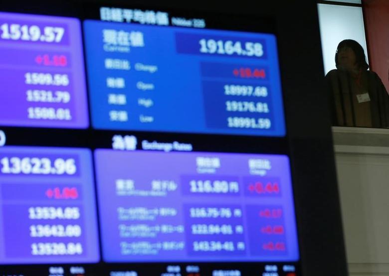 A stock quotation board displaying Japan's Nikkei average is seen  at the Tokyo Stock Exchange (TSE) in Tokyo, Japan December 30, 2016. REUTERS/Toru Hanai