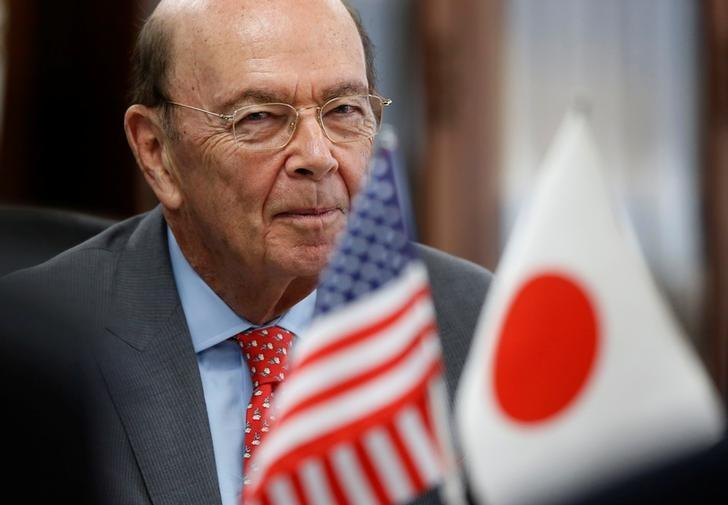 U.S. Commerce Secretary Wilbur Ross attends a meeting with Japan's Minister of Trade and Industry Hiroshige Seko (not in picture) in Tokyo, Japan April 18, 2017. REUTERS/Issei Kato