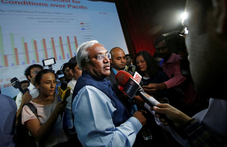 K. J. Ramesh, Director General of India Metrological department, speaks to the media after a news conference in New Delhi, India April 18, 2017. REUTERS/Adnan Abidi