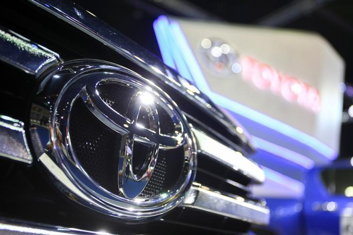 The logo of Toyota is pictured at the 38th Bangkok International Motor Show in Bangkok, Thailand March 28, 2017. REUTERS/Athit Perawongmetha/Files