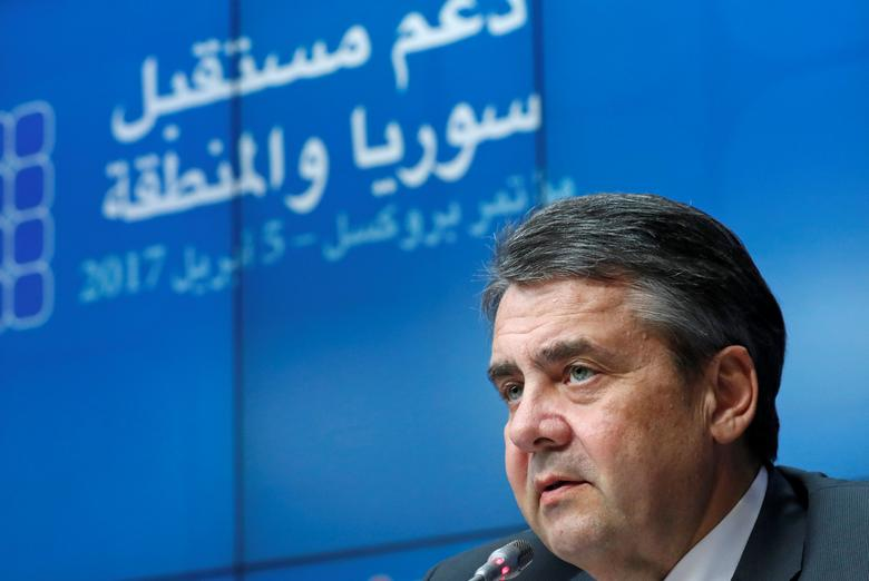 FILE PHOTO: German Foreign Minister Sigmar Gabriel takes part in an international conference in Brussels, Belgium, April 5, 2017. REUTERS/Yves Herman