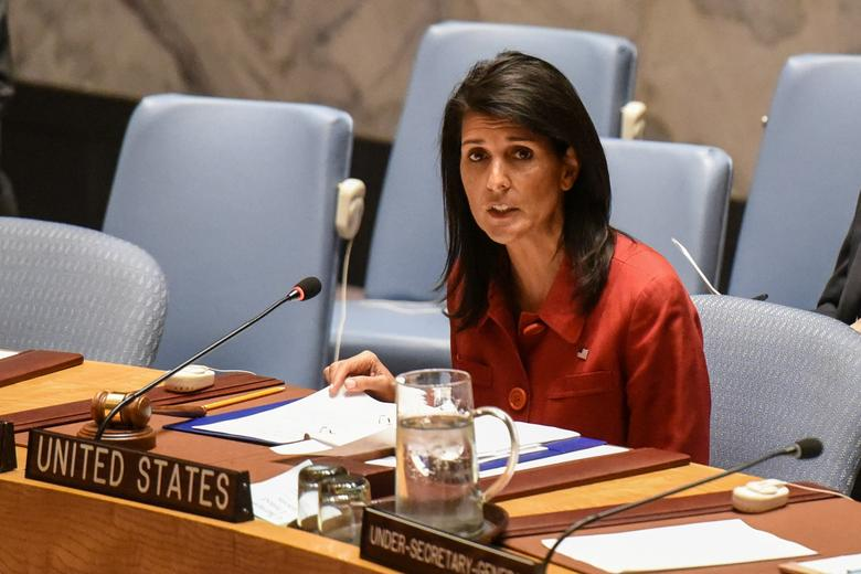 FILE PHOTO - United States Ambassador to the United Nations Nikki Haley delivers remarks at the Security Council meeting on the situation in Syria at the United Nations Headquarters, in New York, U.S,  April 7, 2017. REUTERS/Stephanie Keith/File Photo