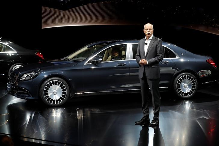 Daimler CEO Dieter Zetsche stands next to the new Mercedes-Maybach S 680 ahead of the Shanghai Autoshow in Shanghai, China April 18, 2017. REUTERS/Aly Song