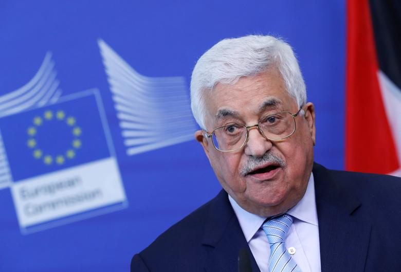 FILE PHOTO: Palestinian President Mahmoud Abbas holds a news conference in Brussels, Belgium, March 27, 2017. REUTERS/Yves Herman