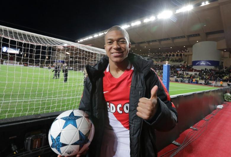 Football Soccer - AS Monaco v Borussia Dortmund - UEFA Champions League Quarter Final Second Leg - Stade Louis II, Monaco - 19/4/17 Monaco's Kylian Mbappe-Lottin celebrates after the match  Reuters / Eric Gaillard Livepic