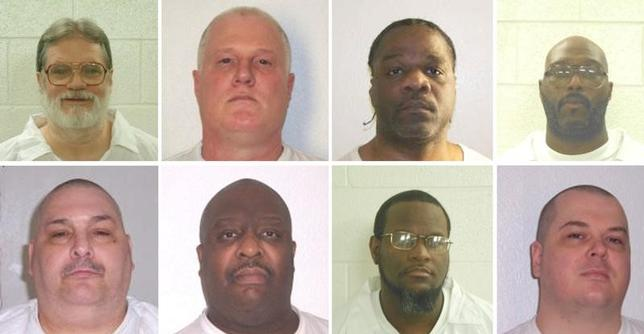 Inmates Bruce Ward(top row L to R), Don Davis, Ledell Lee, Stacy Johnson, Jack Jones (bottom row L to R), Marcel Williams, Kenneth Williams and Jason Mcgehee  are shown in these booking photo provided March 21, 2017.  Courtesy Arkansas Department of Corrections/Handout via REUTERS