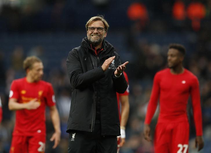 Britain Soccer Football - West Bromwich Albion v Liverpool - Premier League - The Hawthorns - 16/4/17 Liverpool manager Juergen Klopp applauds fans after the match  Action Images via Reuters / John Sibley Livepic/Files