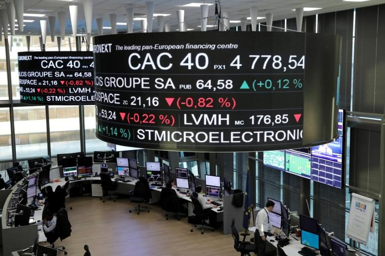 Stock index price for France's CAC 40 and company stock price information are displayed on screens as they hang above the Paris stock exchange, operated by Euronext NV, in La Defense business district in Paris, France, December 14, 2016. REUTERS/Benoit Tessier