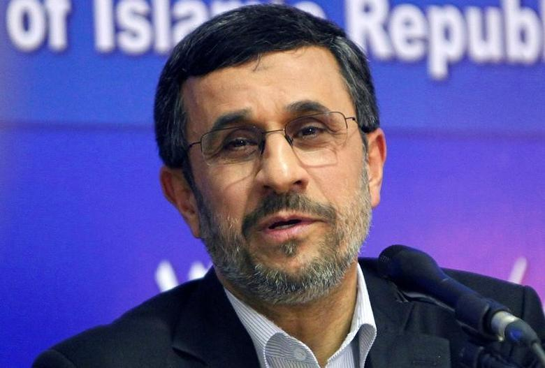 FILE PHOTO - Iran's President Mahmoud Ahmadinejad talks during a news conference at the end of his visit to Cairo,  Egypt February 7, 2013. REUTERS/Asmaa Waguih/File Photo