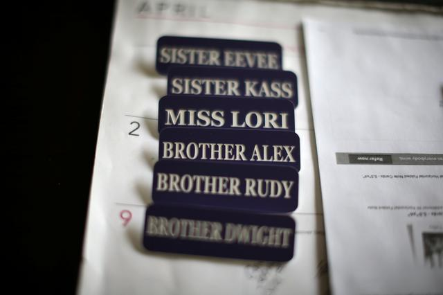 Name badges are seen in the office of Sisters of the Valley near Merced, California, U.S., April 18, 2017. Picture taken April 18, 2017. REUTERS/Lucy Nicholson