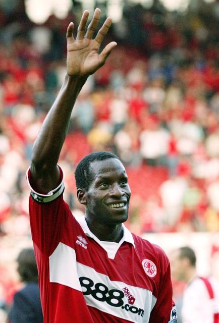 FILE PHOTO - Britain Football Soccer - Middlesbrough v Newcastle United - FA Barclays Premiership - The Riverside Stadium , 14/8/04 Ugo Ehiogu - Middlesbrough waves to fans Action Images via Reuters