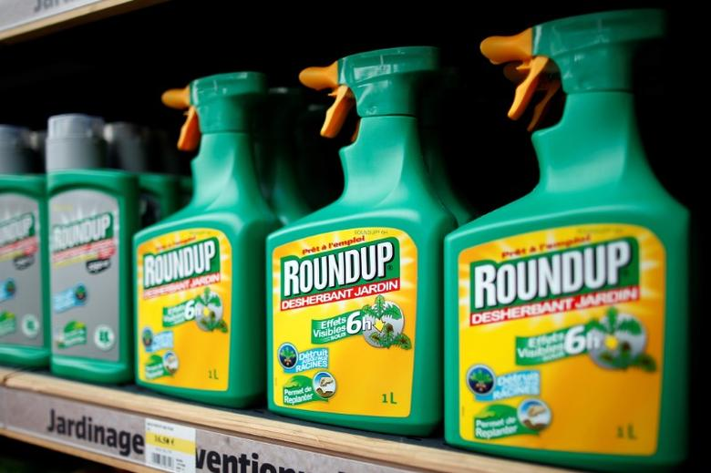 Monsanto's Roundup weedkiller atomizers are displayed for sale at a garden shop at Bonneuil-Sur-Marne near Paris, France, June 16, 2015.     REUTERS/Charles Platiau/File Photo