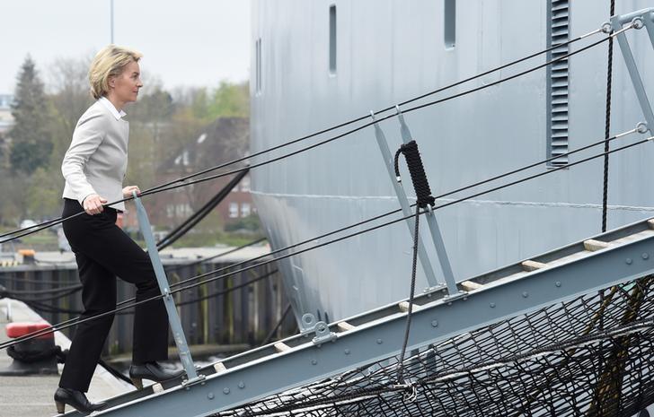 German Defense Minister Ursula von der Leyen enters corvette ''Alster'' during her visit at the German army ''Bundeswehr'' in Kiel, Germany April 21, 2017.  REUTERS/Fabian Bimmer