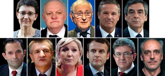 A combination picture shows candidates for the French 2017 presidential election, 1st row L-R : Nathalie Arthaud, France's extreme-left Lutte Ouvriere political party (LO) leader, Francois Asselineau, UPR candidate, Jacques Cheminade, Nicolas Dupont-Aignan, Debout La France group candidate, Francois Fillon, the Republicans political party candidate, 2nd row L-R : Benoit Hamon, French Socialist party candidate, Jean Lassalle, Marine Le Pen, French National Front (FN) political party leader, Emmanuel Macron, head of the political movement En Marche ! (or Onwards !), Jean-Luc Melenchon, candidate of the French far-left Parti de Gauche, Philippe Poutou, Anti-Capitalist Party (NPA) presidential candidate, after the official announcement in Paris, France. France goes to the polls on Sunday April 23, 2017 in the first round of its presidential election. REUTERS/Staff