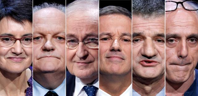 A combination picture shows six of the eleven candidates for the French 2017 presidential election, L-R: Nathalie Arthaud, France's extreme-left Lutte Ouvriere political party (LO) leader, UPR candidate Francois Asselineau, Jacques Cheminade, Debout La France group candidate Nicolas Dupont-Aignan, Jean Lassalle, Philippe Poutou, Anti-Capitalist Party (NPA) presidential candidate in Paris, France. France goes to the polls on Sunday April 23, 2017 in the first round of its presidential election.  REUTERS/Charles Platiau/File Photos