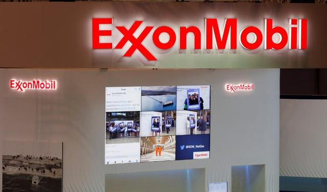 Logos of ExxonMobil are seen in its booth at Gastech, the world's biggest expo for the gas industry, in Chiba, Japan April 4, 2017. REUTERS/Toru Hanai