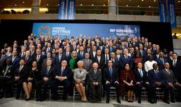 """Finance ministers and bank governors pose for a """"family"""" photo for the International Monetary and Financial Committee (IMFC), as part of the IMF and World Bank's 2017 Annual Spring Meetings, in Washington, U.S., April 22, 2017.   REUTERS/Mike Theiler"""