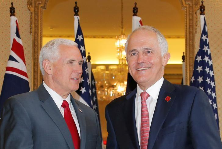 U.S. Vice President Mike Pence (L) meets with Australia's Prime Minister Malcolm Turnbull at Admiralty House in Sydney, Australia, April 22, 2017. REUTERS/Jason Reed
