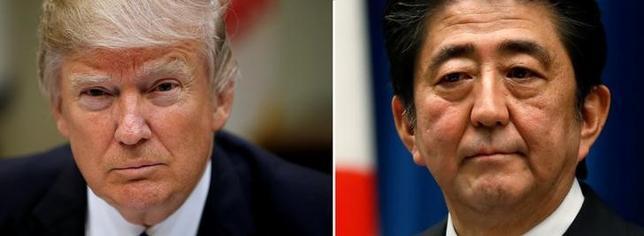 4月24日、安倍晋三首相(写真右)とトランプ米大統領(写真左)は24日午前(日本時間)に電話会談し、北朝鮮に挑発行為の自制を強く求めることで一致した。トランプ大統領の写真はワシントンで今年3月、安倍首相の写真は都内で2014年11月撮影(2017年 ロイター/Kevin Lamarque/Toru Hanai)