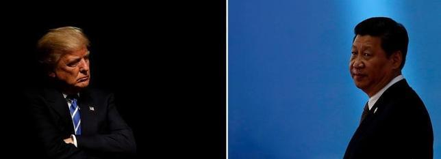 4月24日、中国の習近平国家主席(写真右)はトランプ米大統領(写真左)と電話会談を行い、北朝鮮問題について協議した。トランプ氏の写真は昨年9月にアイオワ州で、習近平氏の写真は2014年5月に上海で撮影(2017年 ロイター/Jonathan Ernst/Aly Song)