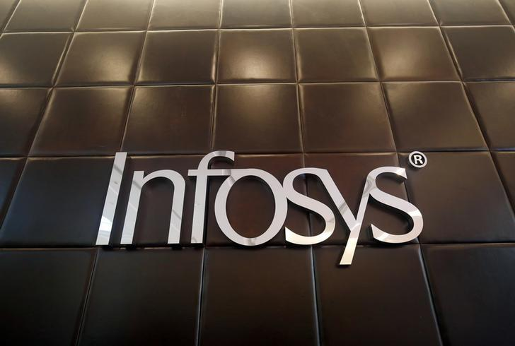 The logo of Infosys is pictured inside the company's headquarters in Bengaluru, India, April 13, 2017. REUTERS/Abhishek N. Chinnappa