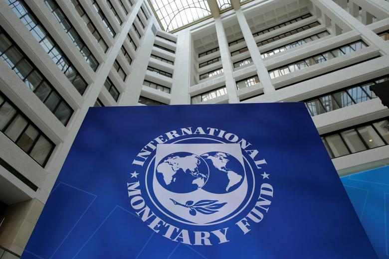 The International Monetary Fund logo is seen during the IMF/World Bank spring meetings in Washington, U.S., April 21, 2017. REUTERS/Yuri Gripas