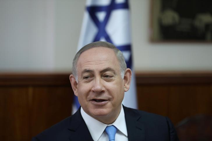 Israeli Prime Minister Benjamin Netanyahu attends the weekly cabinet meeting in Jerusalem, April  23, 2017. REUTERS/Ronen Zvulun