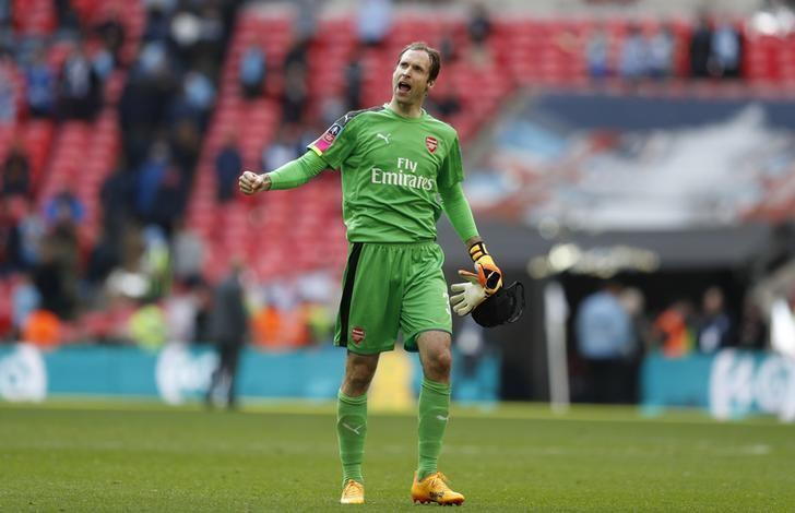 Britain Football Soccer - Arsenal v Manchester City - FA Cup Semi Final - Wembley Stadium - 23/4/17 Arsenal's Petr Cech celebrates after the match  Action Images via Reuters / John Sibley Livepic