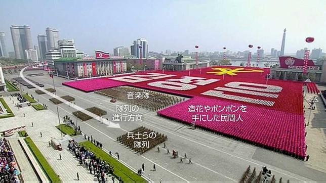 4月21日、北朝鮮の軍事パレードは見る者を圧倒すると同時に、秘密のベールに包まれた同国の軍事力や、政権が何を目指しているのかといった重要な情報をもたらしてくれる。写真は北朝鮮国営テレビ映像の静止画に、ロイターが説明を加えた(2017年 ロイター)